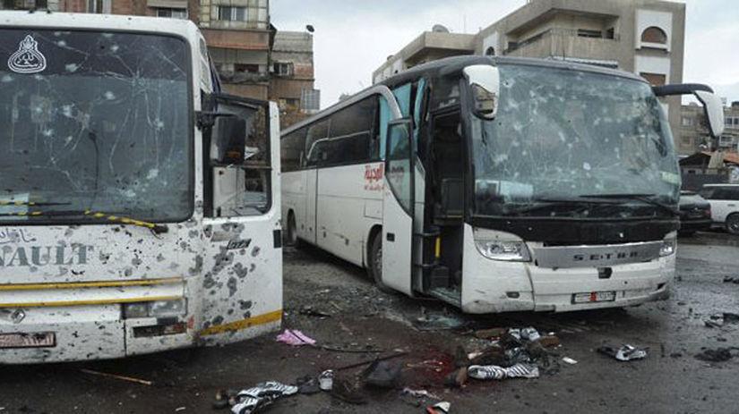 Damask, Sýria, útok, bomba, autobus