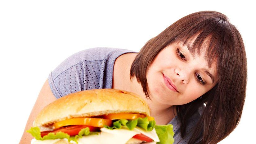 hamburger, žena, obezita, nadváha