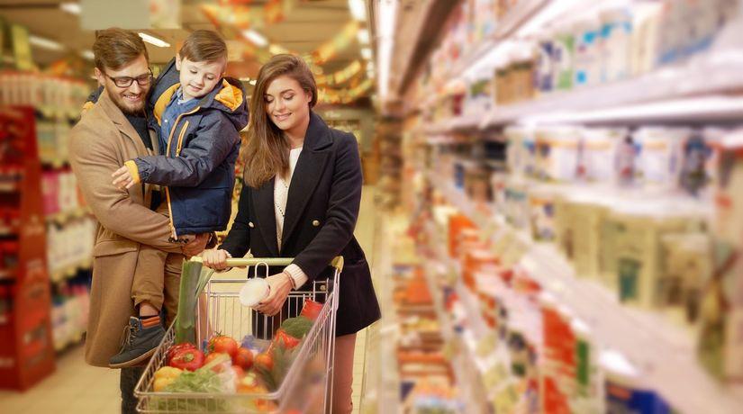 nákup, potraviny, obchod, žena, muž