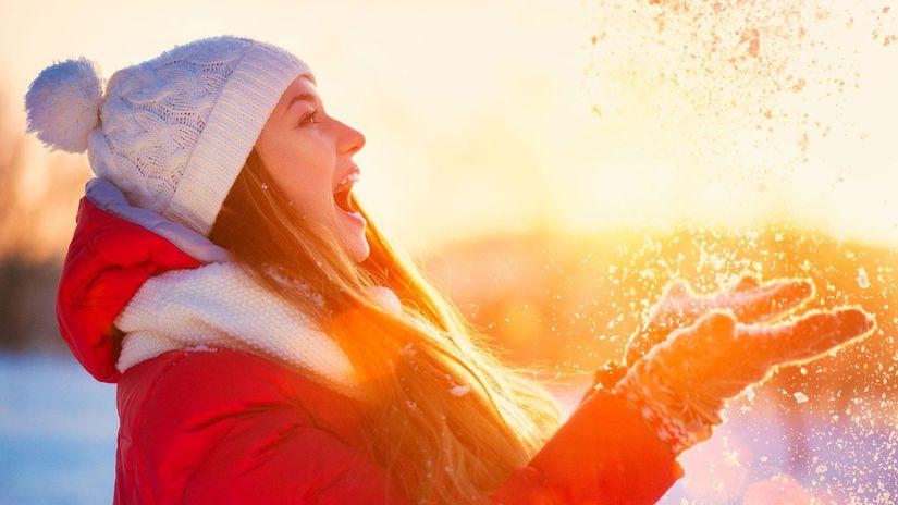 zima, sneh, mráz, sneženie, žena, čiapka,...