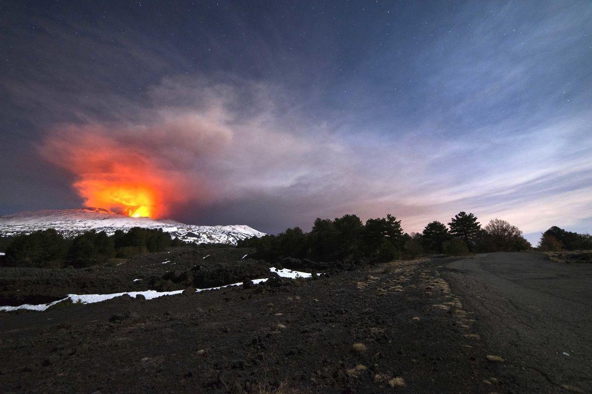 Etna, vulkán, sopka,