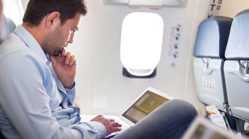 lietadlo, paluba, cestujúci, tablet, počítač