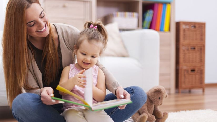dieťa, mama, kniha, materská