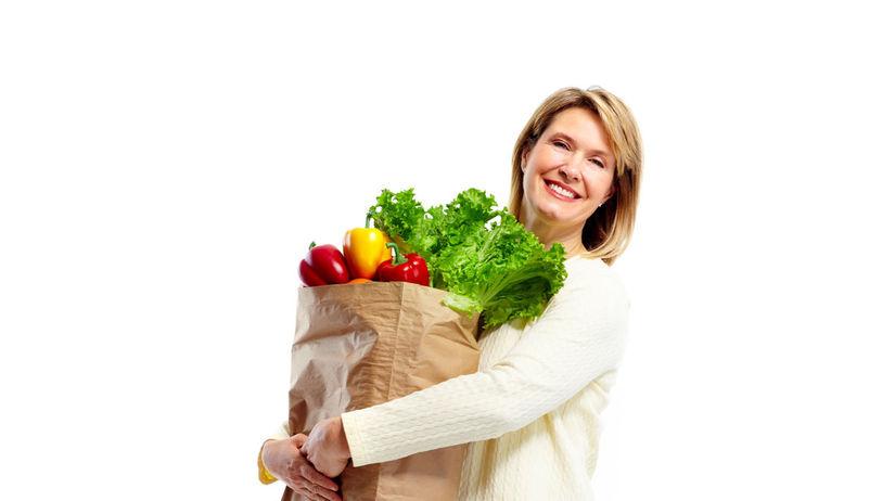 žena, nákup, zdravá strava