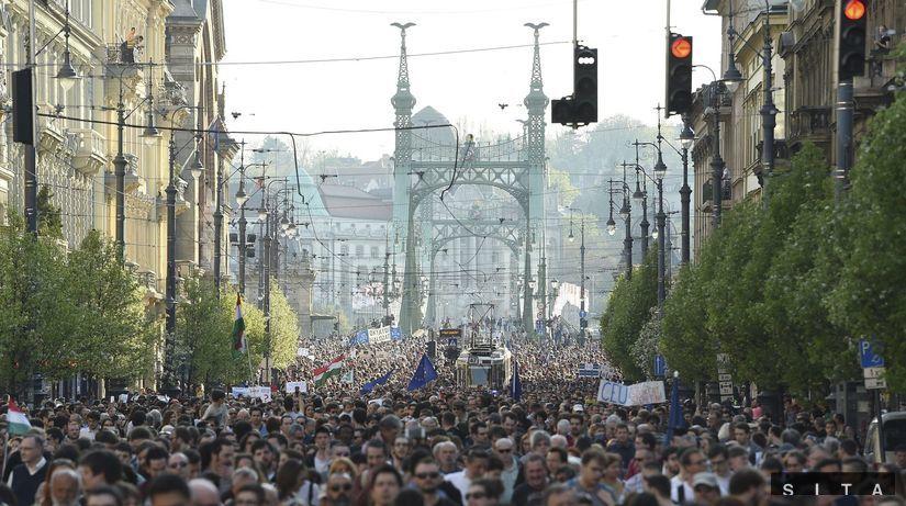 protest, demonštrácia, maďarsko, soros,...