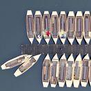 lode, člny, prístav, mólo, jazero Woerlitz, plávanie, leto, dovolenka,