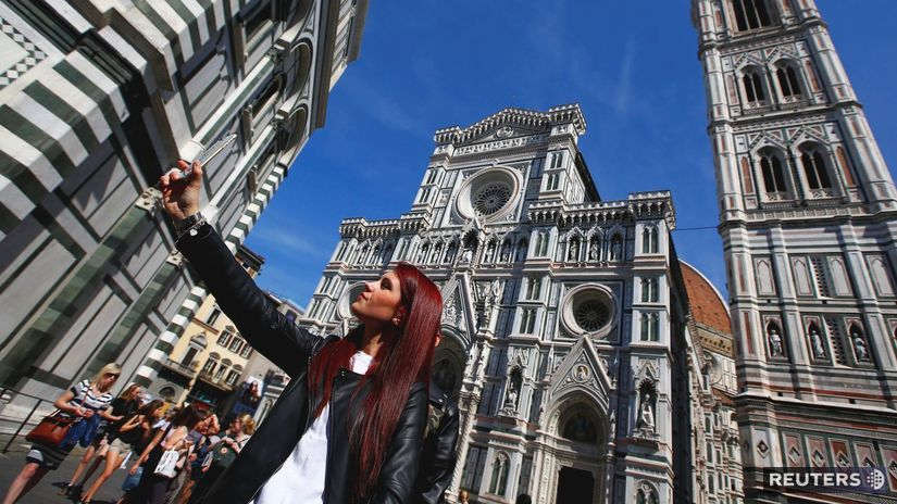 turistka, selfie, Florencia, fotenie