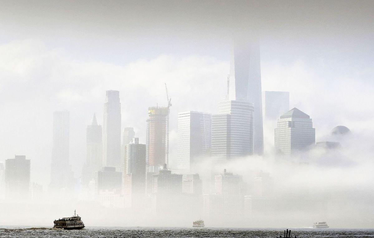 New York City, rieka Hudson, mrakodrapy, hmla, Manhattan, trajekt