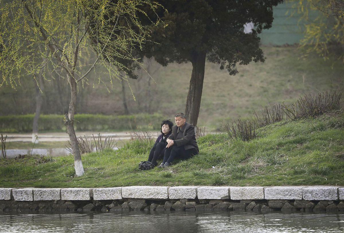 Severná Kórea, pár, manželia, rieka, strom, trávnik,