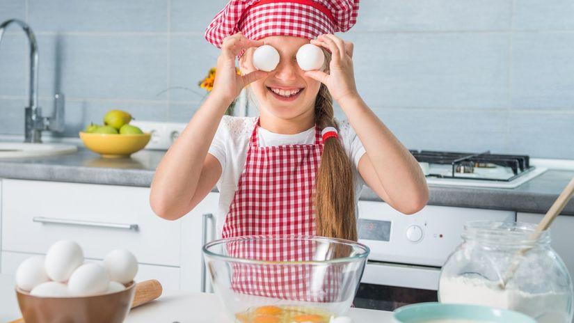 dieťa, kuchyňa, varenie, vajce, vajíčko