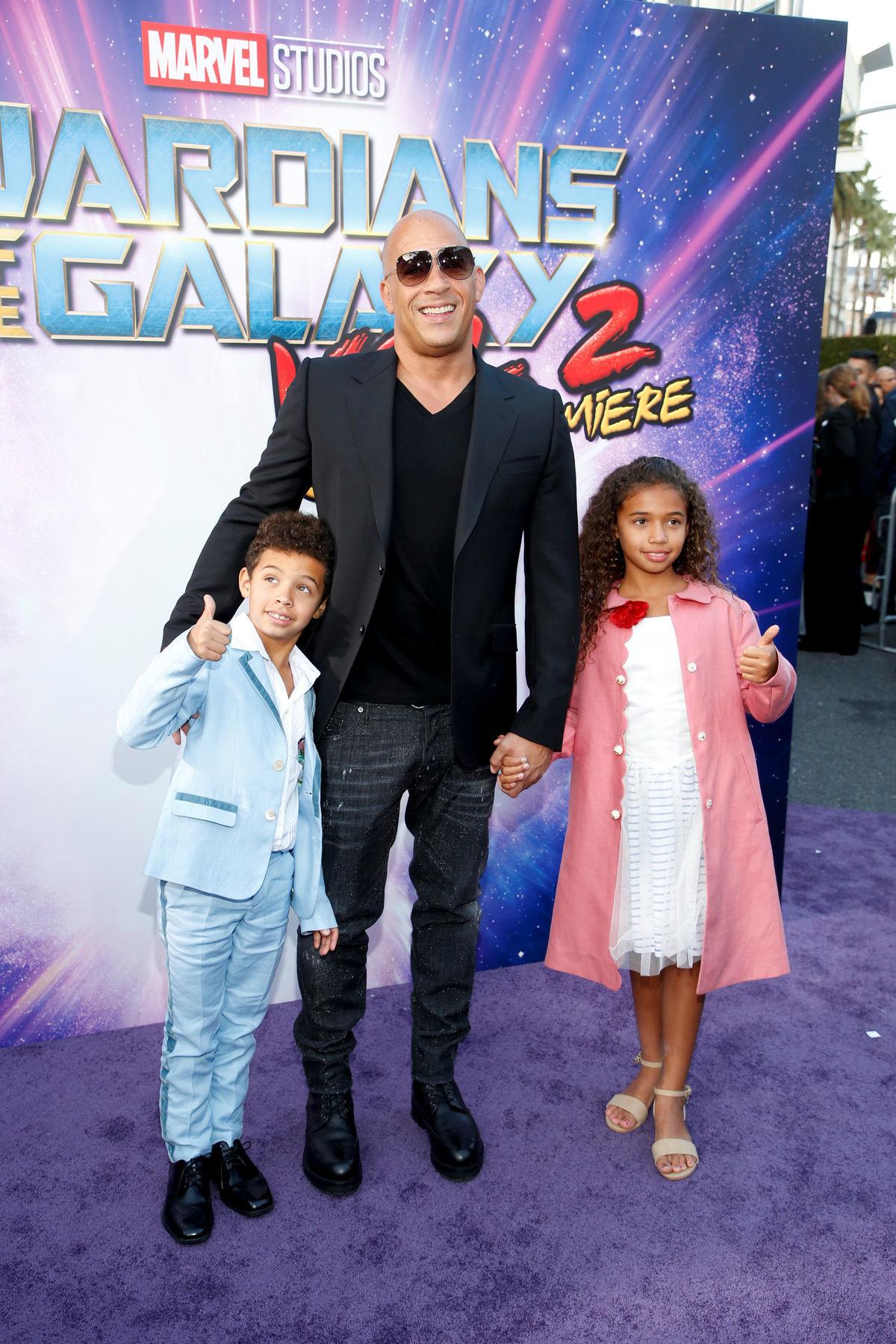 Vin Diesel so synom Vincentom a dcérou  Haniou na premiére filmu Strážcovia galaxie 2 v  Hollywoode.