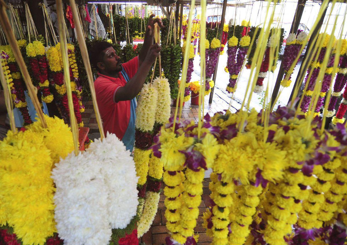 Malajzia, kvety, predavač, trh