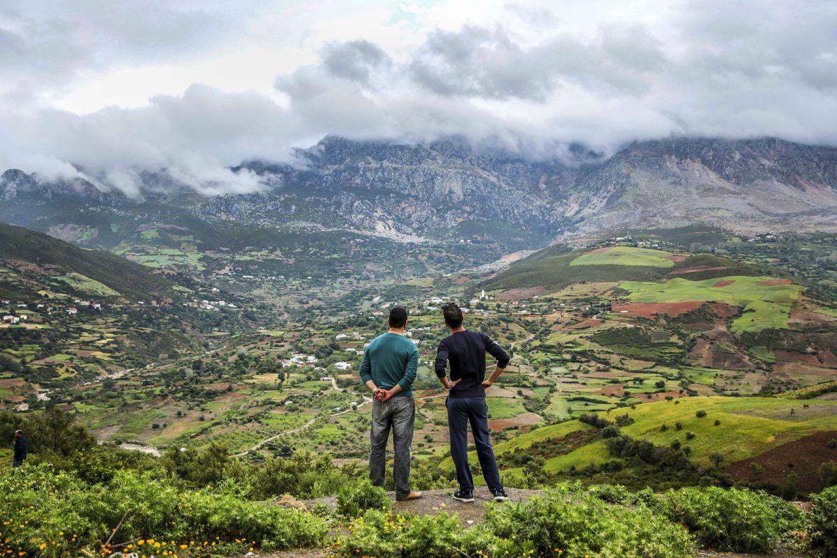 Maroko, turisti, výhľad, cestovanie, hory Rif