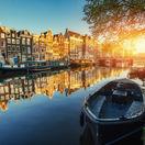Amsterdam, Holandsko, kanál, mesto, čln, loďka,