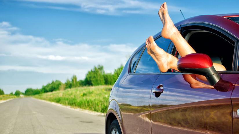 dovolenka, auto, nohy