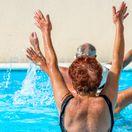 kúpele, bazén, dôchodcovia, cvičenie