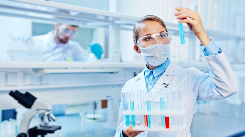 laboratórium, vedci, vedkyňa, žena, pokus,...
