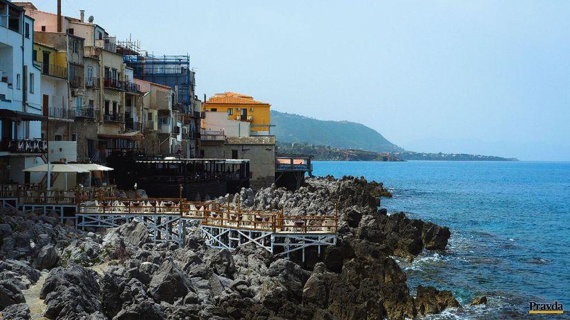 Sicília, Taliansko, Cefalú, more, útesy, skaly