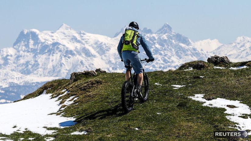 Rakúsko, bicykel, cyklista, hory, kopce, Alpy