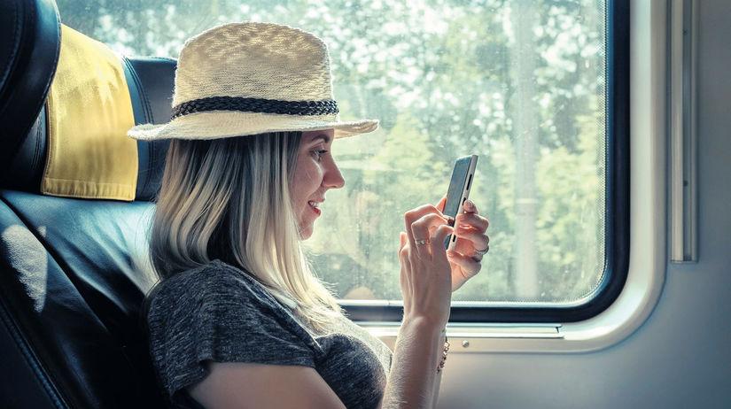 mobil, vlak, cestovanie, turistka