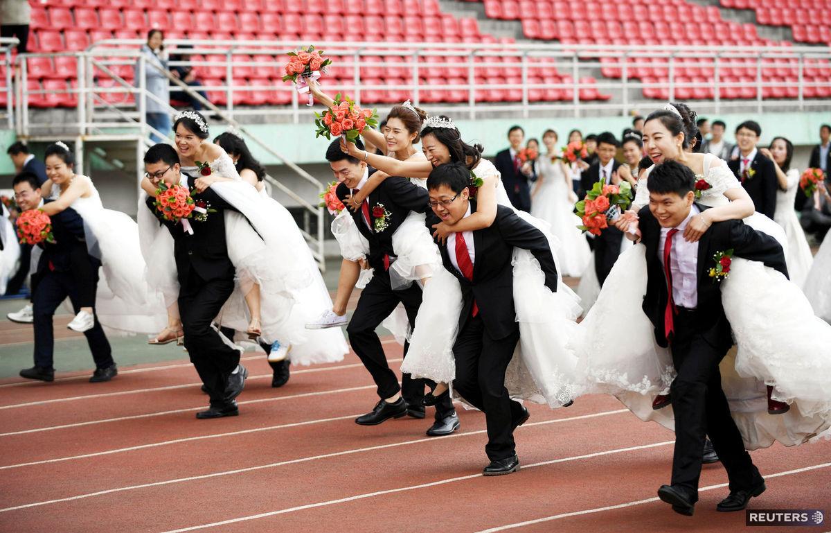 preteky, svadba, Čína, páry