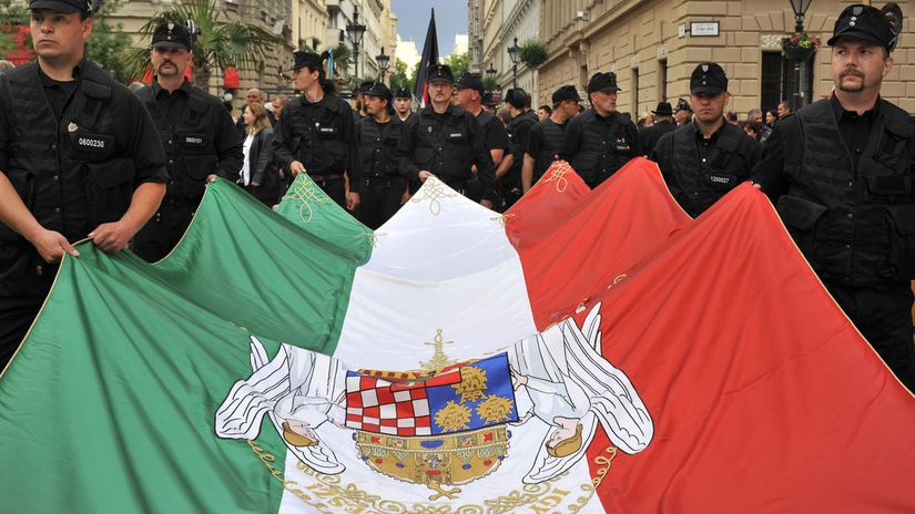 madarsko, madari, demonstranti, madarska vlajka