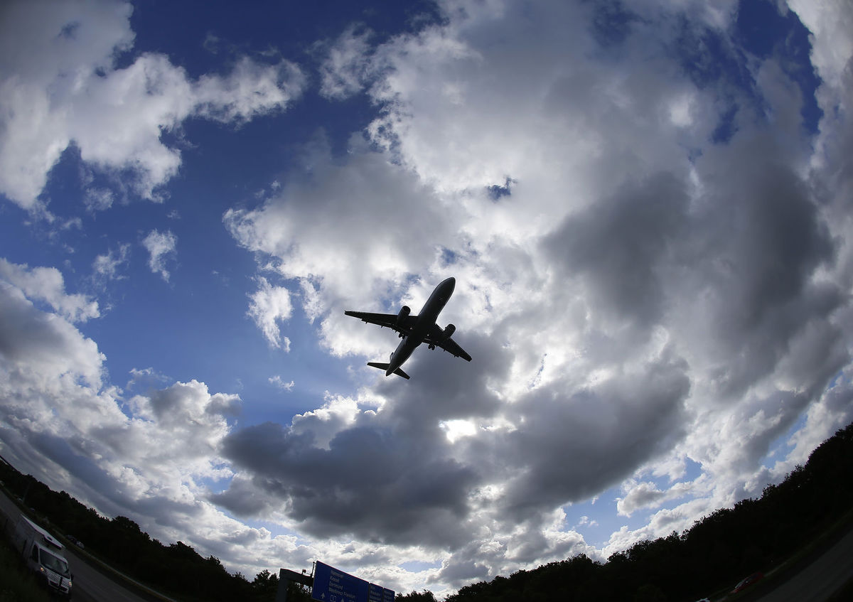 lietadlo, obloha, doprava, mraky, letisko