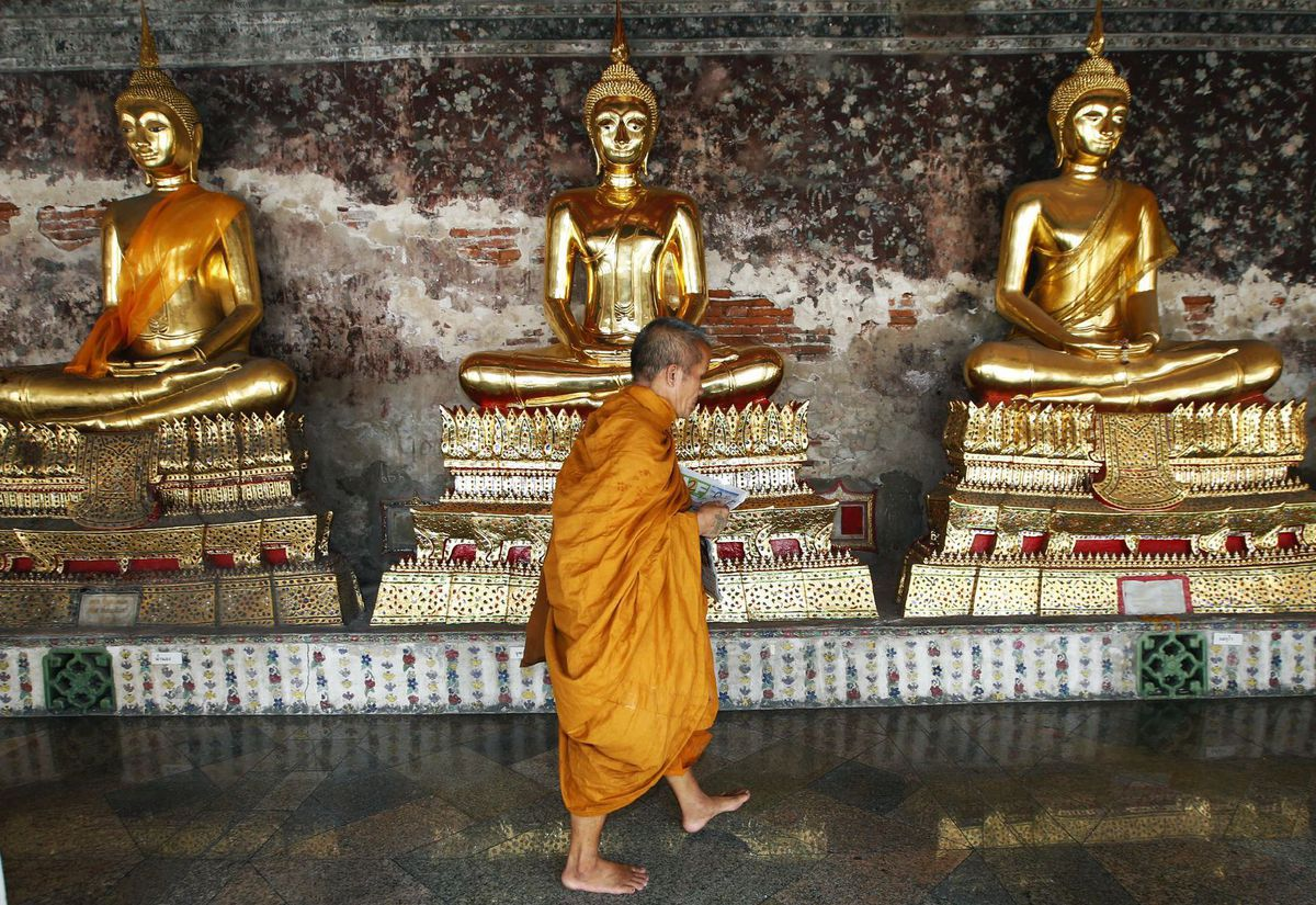 Thajsko, budhista, mních, sochy, Budha