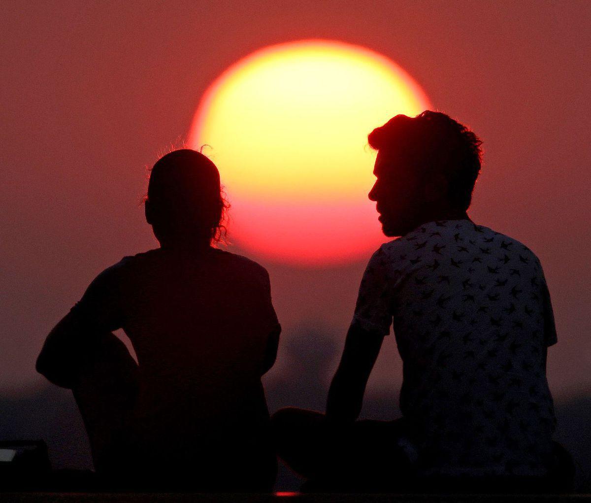 západ slnka, večer, romantika, dvojica, Missouri