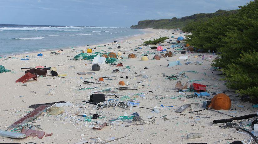pláž, odpad, plasty