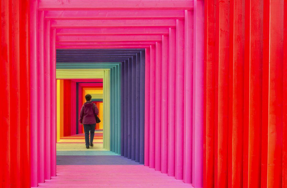 farebné, umelecké dielo, farby, tunel, ružová, červená