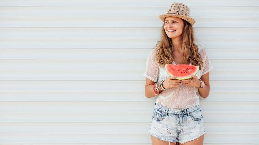 dievča, leto, melon