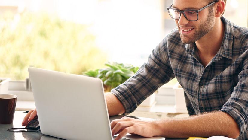 muž, práca, počítač