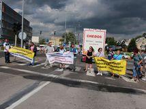 ružomberok, blokáda, protest, demonštrácia, diaľnice,