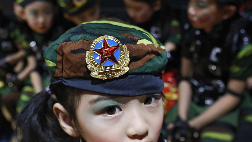 čína, dievča, uniforma, škôlka