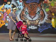 Čína, tiger, maľba, kresba, graffiti, kočík, matka, dieťa, Peking, populácia, obyvatelia,