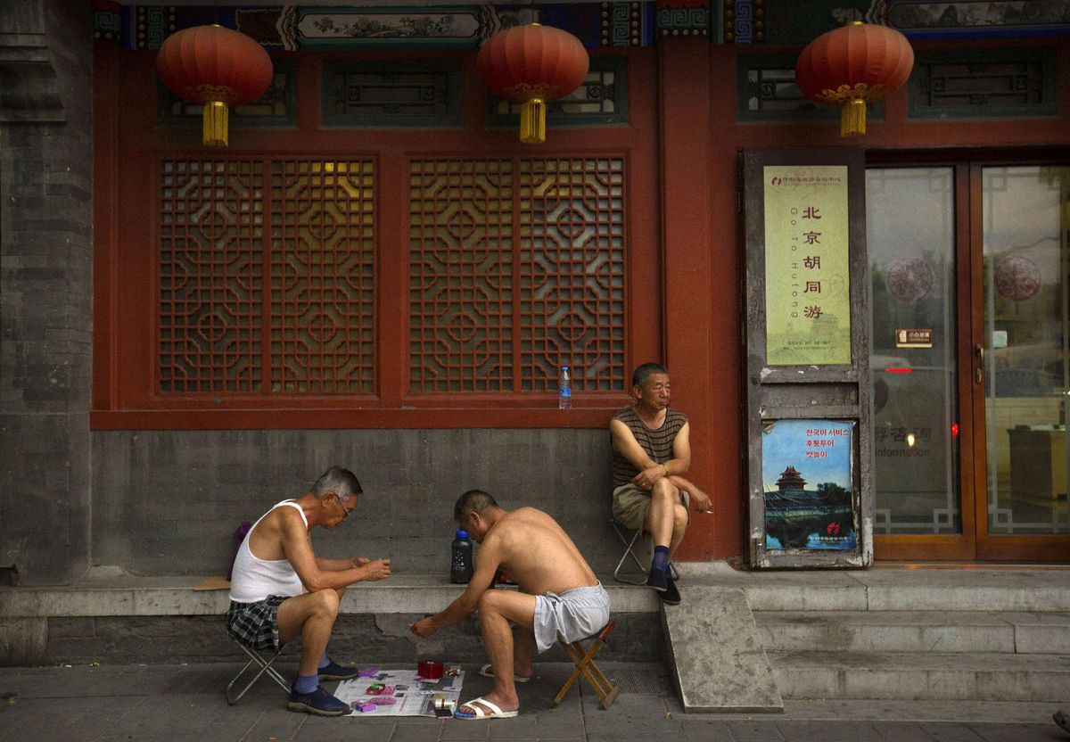 Čina, ulica, karty, Peking
