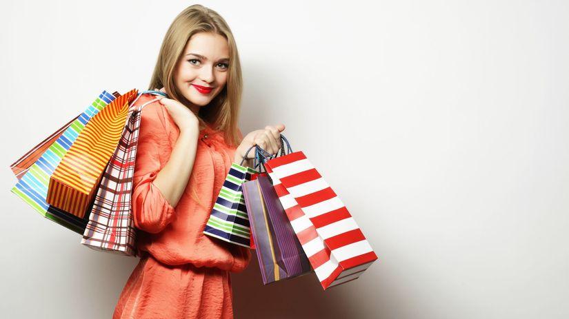 žena, nákupy, tašky