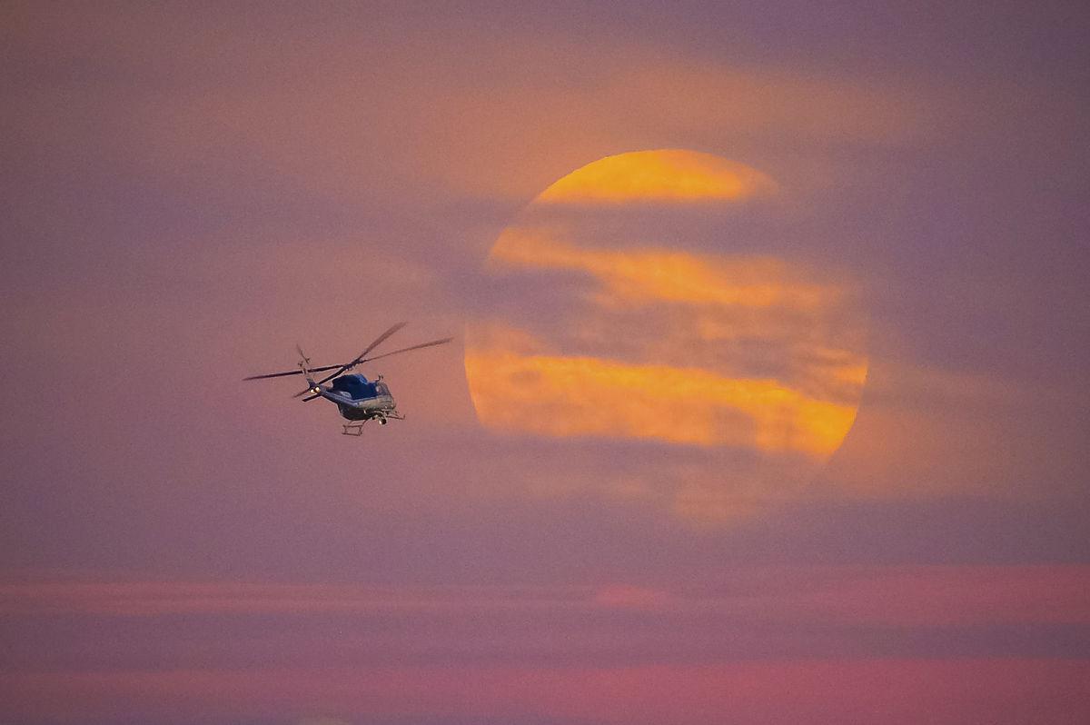 helikoptéra, lietanie, slnko, večer, obloha,