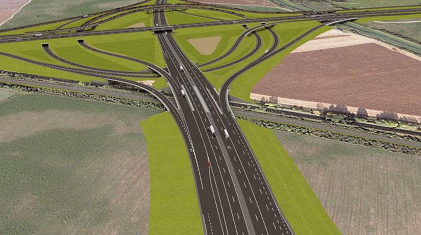 vizualizácia križovatky, okolie BA, diaľnica D1