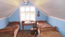 Island, dom, Skanzen v Skógare, podkrovie, povala, postele, spálňa