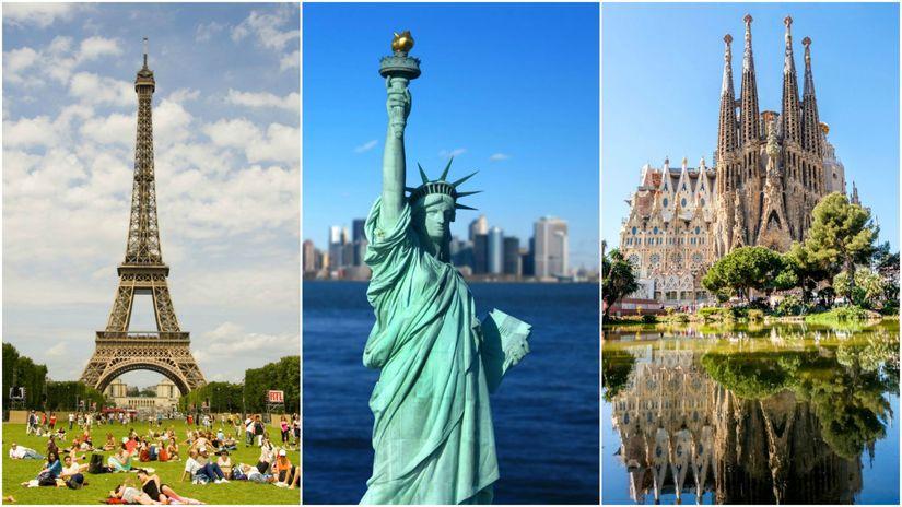 koláž, Francúzsko, Paríž, Eiffelova veža, USA,...