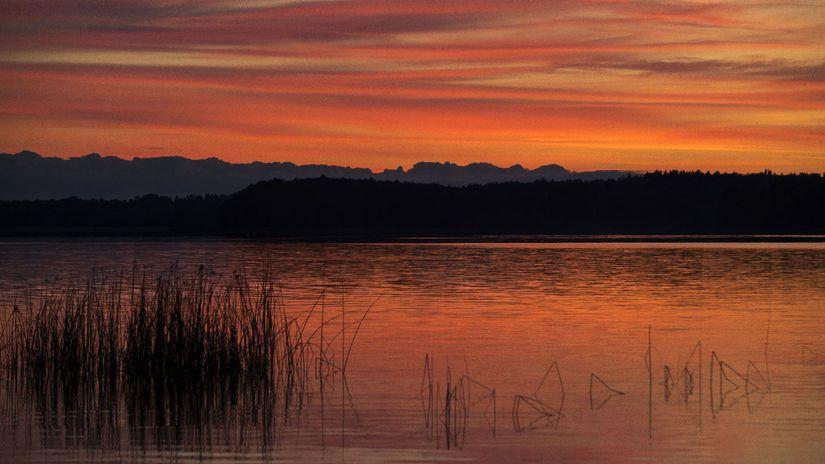 Litva, jazero, večer, voda, dovolenka, more,...