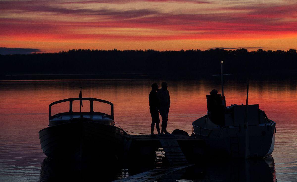 Litva, večer, jazero, loď, more, dovolenka, leto, cestovanie