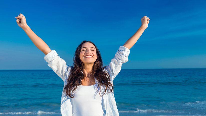 žena, more, šťastie
