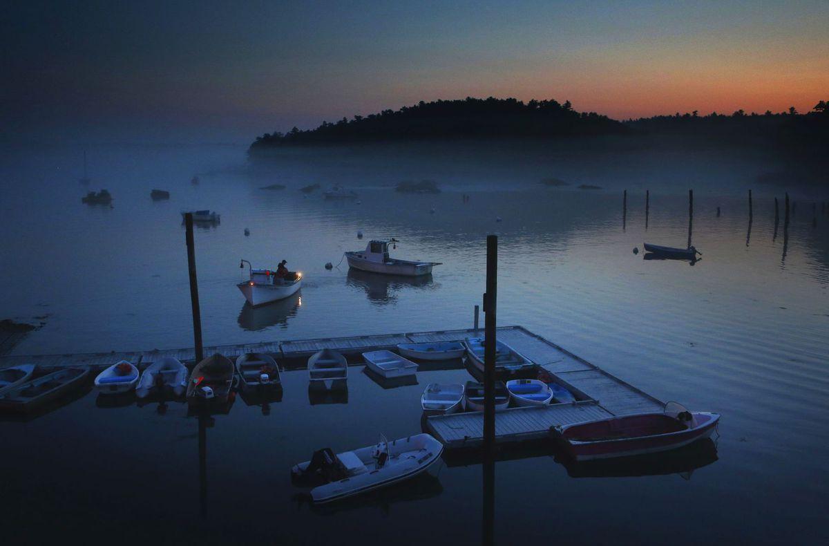 Maine, voda, jazero, more, člny, člnky, loďky, prístav, dovolenka,