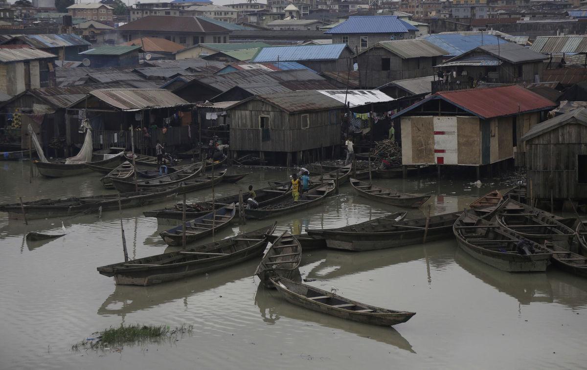 Nigéria, domy, slum, lode, Lagos,