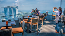 Singapur, terasa, fotografovanie, turisti, Marina Bay