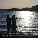 Litva, jazero, dievčatá, fotka, prázdniny, leto, dovolenka