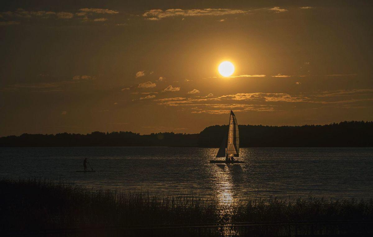 Litva, jazero, plachetnica, leto, prázdniny